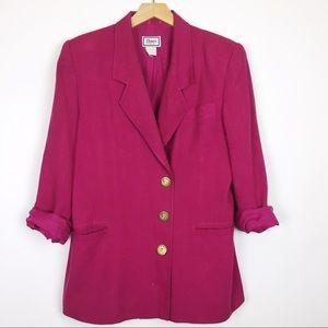 Vintage pink blazer linen blend fuchsia gold